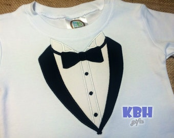 Embroidered Tuxedo Shirt, Onesie, or Bodysuit / Ringbearer Shirt
