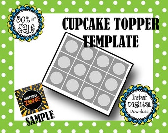 Cupcake Topper- Make Your Own Cupcake Toppers- Caopy and Paste Images or Text into This Digital Template- Party Supply- DIY Digital Template
