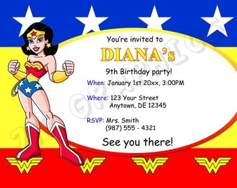 Wonder Woman Birthday Invitation - Printable