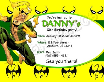 Iron Fist Birthday Invitation - Printable