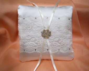 Ivory wedding ring cushion pillow lace satin rhinestones