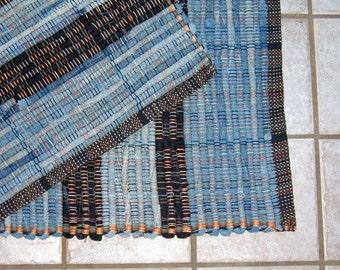 "Rag Rug #348 blue jean rug 27"" x 38"""