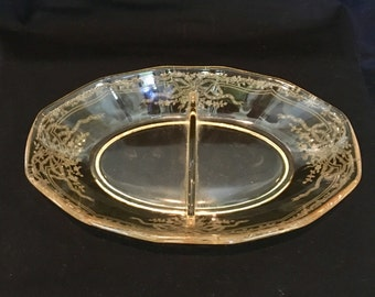 Fostoria June Pattern Condiment Dish in Topaz Yellow