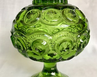 """LE Smith Moon and Stars 7"""" Compote in Emerald Green"""
