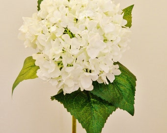 "Silk Hydrangea in White - 30"" Tall"