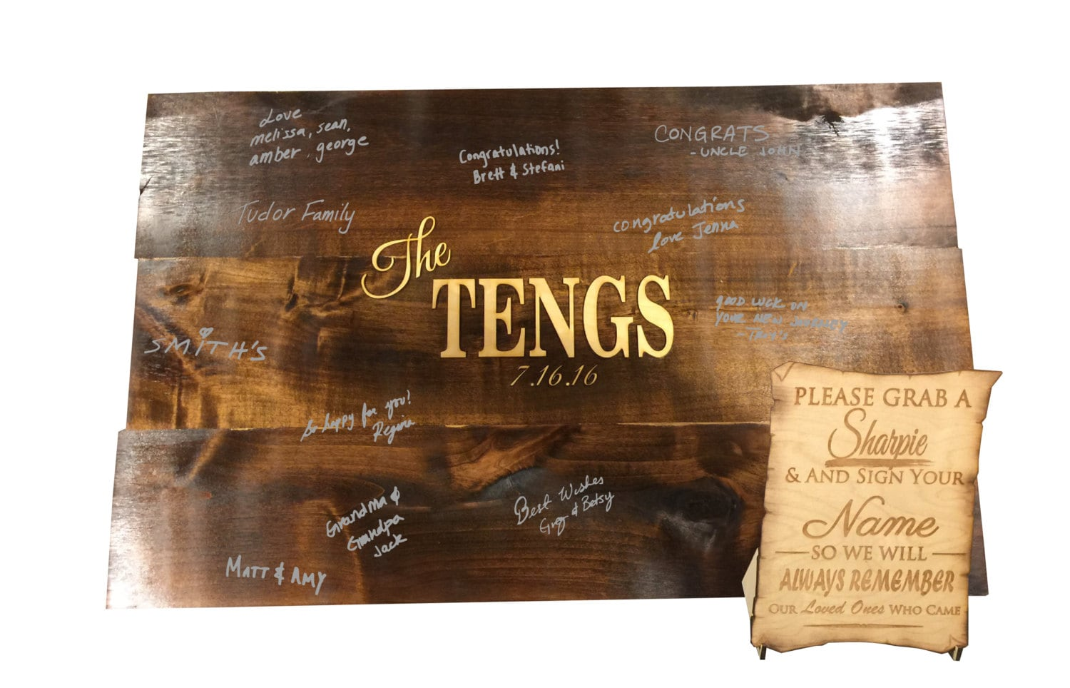 Wood Guest Book Signing Board Engraved Wedding Guest Book