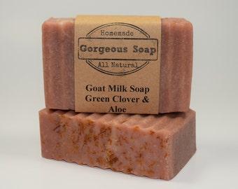 Green Clover & Aloe Goat Milk Soap - All Natural Soap, Handmade Soap, Homemade Soap, Handcrafted Soap