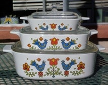 Vintage Corning Ware Country Festival Set of 3 Square Casseroles - A-2, A-1, and P-41 with Lids