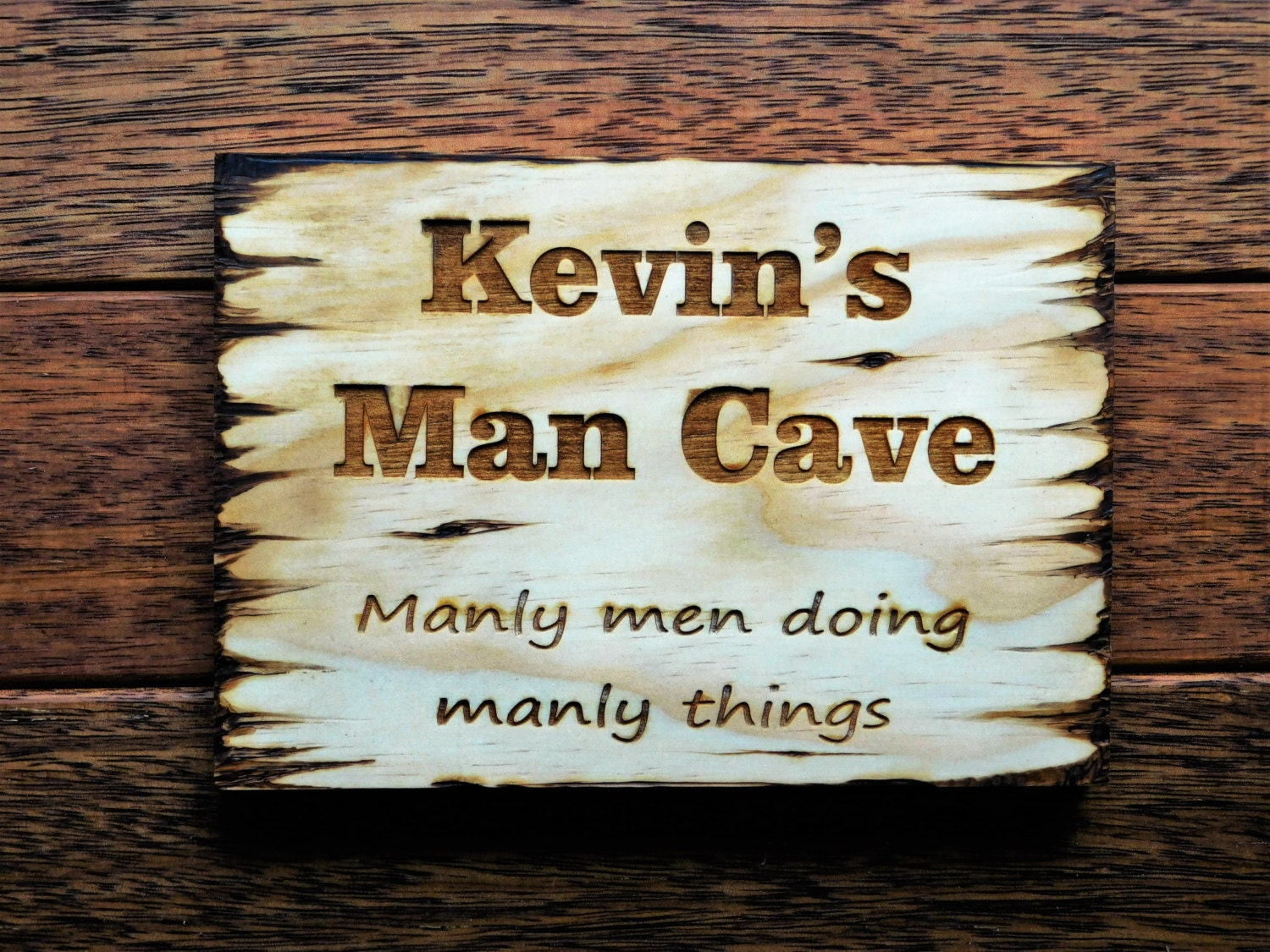 Engraved Man Cave Signs : Man cave sign wooden heat engraved gift for yard