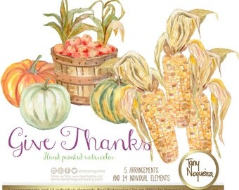 Give Thanks,  Shabby Chic Thanksgiving Pumpkins Candles Corn clip art images watercolor hand painted PNG and JPG for blog cards invitations