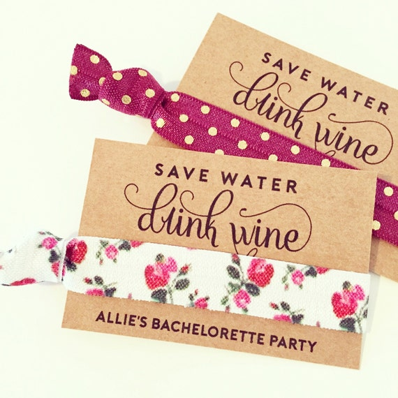 Wine Tour Birthday + Bachelorette Hair Tie Favor | Floral Wine Tour Hair Tie Favor, Bachelorette Favor, 21st Birthday Wine Tasting Wine Tour