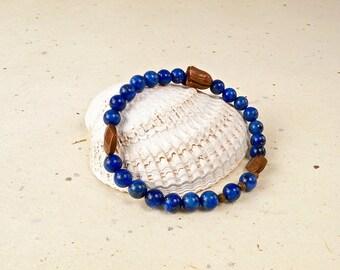 Lapis Lazuli and Vintage Copper Beaded Bracelet