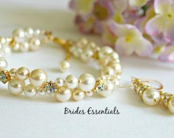 Wedding Bracelet and Earring Set, Bridal Bracelet, Two strand Pearl Bracelet, Multi Strand, Swarovski Pearl Bracelet, Ivory Gold Champagne