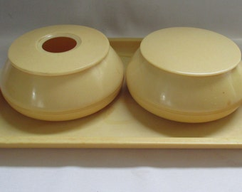 Vintage Art Deco Ivaleur Ivorine Celluloid 5 Piece Vanity Set ~ Tray Powder Hair Receiver