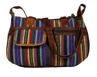 Colorful leather shoulder bag/shopper with organic cotton - handmade & eco-friendly - YOGI