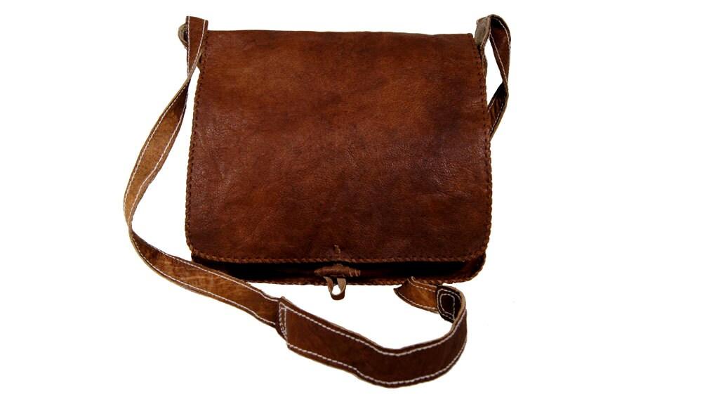 unique messenger leather bag in vintage style unisex