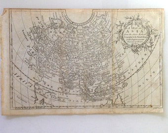 Antique Map of Asia by Sieur Robert Geographer to French King Improved for Brooke's Gazetteer