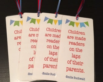 Laminated Bookmark Favor- Book Themed Baby Shower Favor- Set of 4