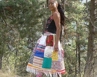 long cotton patchwork skirt