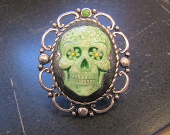 Sugar Skull Cameo Ring (Green)