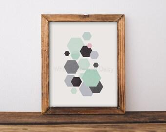 Hexagon Art Geometric Art Hexagon Print Geometric Printable Art Modern Printable Art Geometric Wall Art Nursery Art Printable Nursery Wall