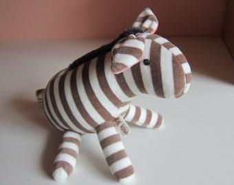 Chokola Zebra Pony, striped Plushie, Zorse Stuffed Animal