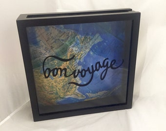 12x12 World Traveler Ticket Stub Holder, Keepsake, or Souvenir Shadow Box for Road Trips, Vacations, Cruises, etc. (Bon Voyage with Map)