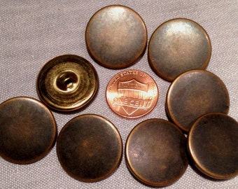 """Lot of 8 Antiqued Brass Tone Metal Shank Buttons Hollow Puffed 7/8"""" 22.5mm # 7471"""