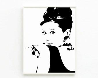 Audrey Hepburn wall art Printable art Poster Black and white Minimalist Print Women art Room decor DIY INSTANT DOWNLOAD
