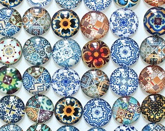20mm Persian Tiles Glass Magnet Set, Persian Patterns Glass Magnets, Blue and White Magnets, Lovely Fridge Magnet, Unique Magnet Gifts