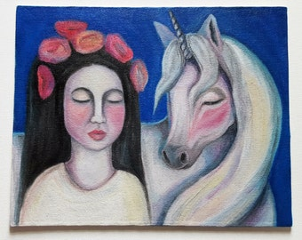 Original oil painting 'Una and the Unicorn'
