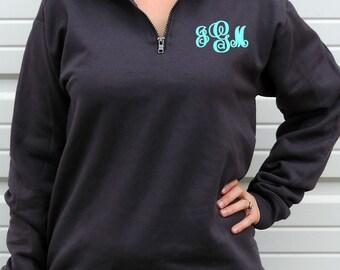 Monogrammed Unisex Quarter-Zip Sweatshirt (Hanes Nano Fleece 1/4 Zip Pullover) N290