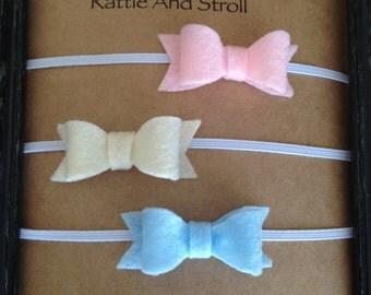 Baby headband,headband set, headband, felt bow headband, bows, baby shower, baby gift, baby girl headband, bow headband, baby blue headband