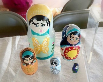 Nesting Matryoshka Dolls - Four Seasons (5 piece set)