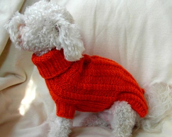 Small Dog Sweater with Cables (Orange Hand Knit) XXS - XS - S - BubaDog