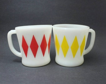 Fire King Diamond Mugs, Red and Yellow