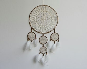Cream crochet dream catcher, white feathers, crochet cotton lace doily dreamcatcher