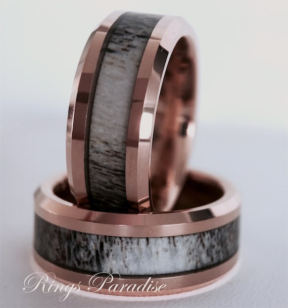 Real Antler Elk Ring Mens Tungsten Ring Wedding Band