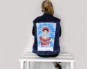Handpainted Sleeveless Denim Jacket-womens jacket