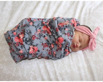 Gray floral swaddle