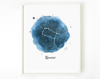 Gemini Constellation Painting Print, Zodiac Art Print, Astronomy Art, Watercolor Print