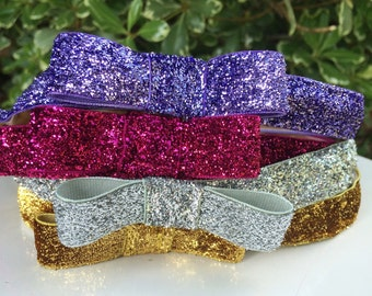 Fairy friends running headband/ Rapunzel/ Aurora/sparkle bow top headband 3/4inches wide non slip