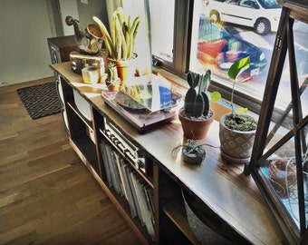 Rustic Natural Live Edge Large Entertainment/Record Player Media Stand