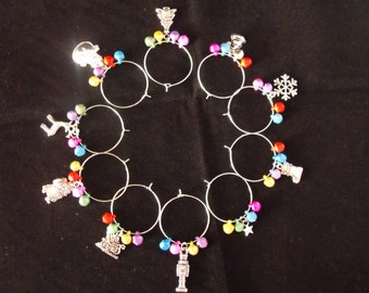 Christmas Themed Wine Glass Charms with Pretty Bell Beads. *FREE P&P