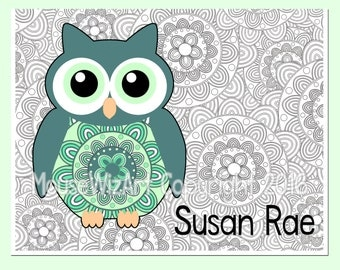 Personalized Notecards Teacher Owl Name Bridesmaid Gift - GYPSY OWL