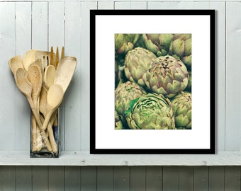 Food Photography, Kitchen Wall Art, Kitchen Decor, Artichokes, Market, Vegetables, garden, nature, black and white print, sage green