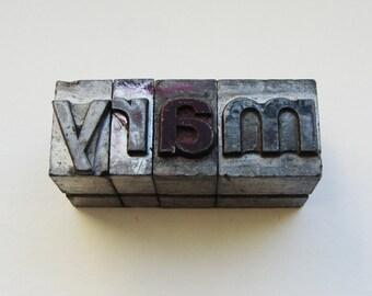 mary letters Letterpress metal type 48pt Sans serif bold lower case