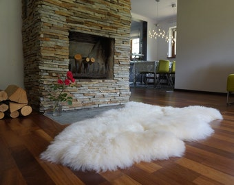 """Original, Natural GIANT Rug XXL 50"""" x 30"""" White Genuine Natural Sheepskin Rugs Exclusive Rug Area Rugs Carpet Outdoor Rugs Cheap Rugs Shag"""
