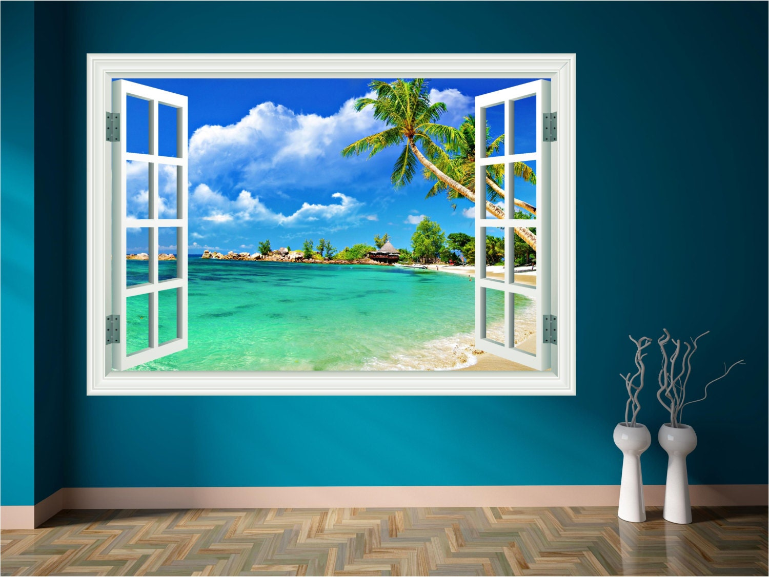 Paradise beach sea holiday window wall art sticker decal mural for Beach wall mural sticker