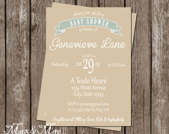 Gender Neutral Baby Shower Invitation, Baby Shower Invitation, Thank You, Baby Shower Menu, Name That Tune Baby Shower Game, Digital